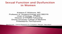 Sexual Function and Dysfunction in Women